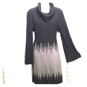 Cowl neck sweater dress wide sleeve L